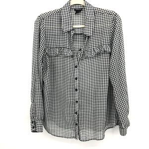 Torrid Black White Gingham Button Up Blouse M/L
